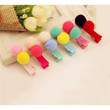 Kids Hair Clips with Colorful Soft Balls Girls Headdress Hairpins - intl