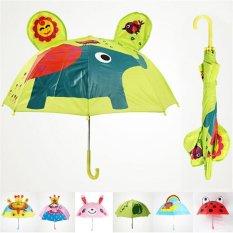 Kids Long Handle Umbrella Toddler Rain Umbrella With 3d Cartoon Animal Ears -Ladybug - Intl By Qichengshop.
