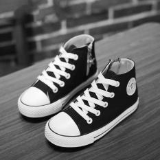 Giá bán Giầy trẻ em cho Bé Gái Trẻ Em Giày Vải Bé Trai Giày 2017 Cao cấp Bé Gái Giày Chắc Chắn Thời Trang Trẻ Em (EU SIZE18-37/Đen) -quốc tế