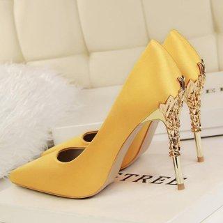 [Hàng quốc tế Lưu ý thời gian giao hàng dự kiến]Fashion High-Heeled Shoes Thin Heels Ladies Wedding Shoes Pointed Toe Woman Pumps Closed Toe High Heels Women Shoes (Yellow) thumbnail