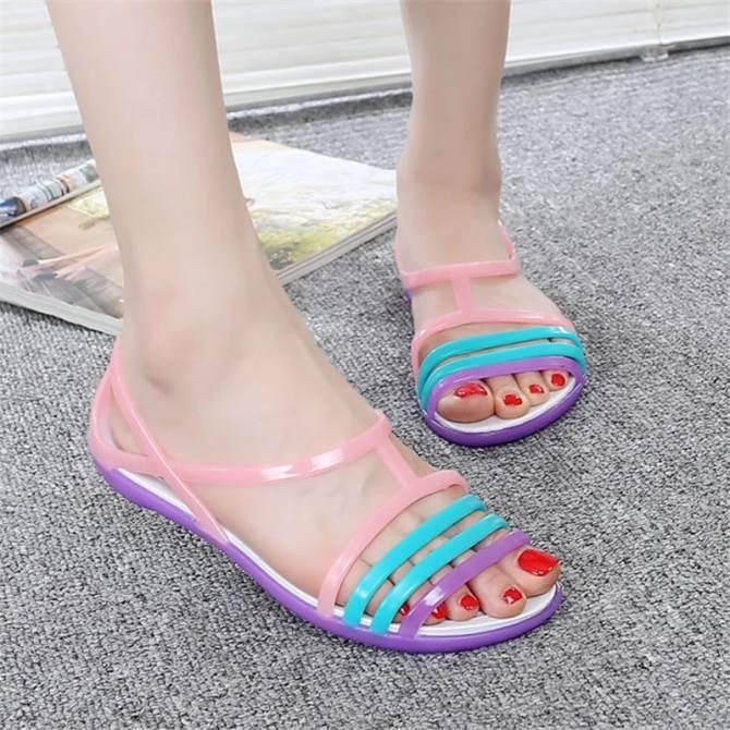 26e46f6a2537fe lcfu764 crystal jelly shoes leisure beach sandals green super cheap ...