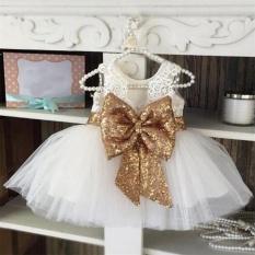 Hình ảnh Makiyo Bé Trẻ Em Bé Gái Mùa Hè Kim Sa Lấp Lánh Bowtie Đầm Ren Công Chúa Nhiều lớp Tutu Đầm Công Chúa Dự Tiệc Cuộc Thi Hoa Bé Gái (Trắng) -quốc tế