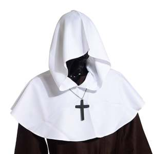 Hình ảnh Medieval Hooded Cowl Hood With Cross Necklace White - intl
