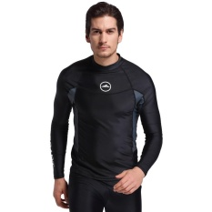 Mua Men Diving Wetsuit Tops Summer Long Sleeve Swimming Surfing Rashguard T Shirts Snorkeling Uv Protection Swimwear Black Intl Mới Nhất