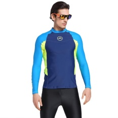 Mã Khuyến Mại Men Diving Wetsuit Tops Summer Long Sleeve Swimming Surfing Rashguard T Shirts Snorkeling Uv Protection Swimwear Blue Intl Trong Trung Quốc