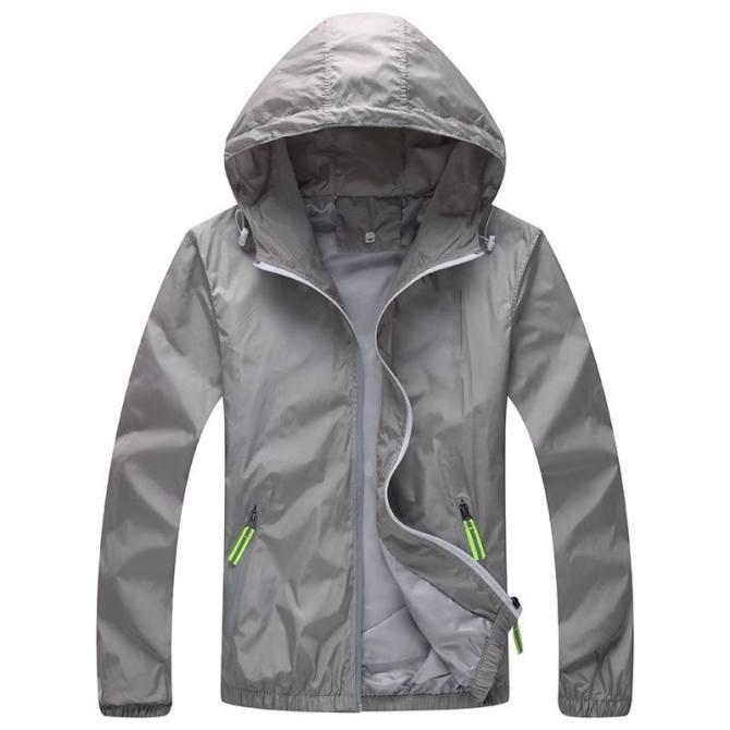 Men Outdoor Sports Quick Dry Hooded Lightweight Jacket Hiking Mountain Climbing UV Sun Protection Sunscreen Coat Tops Long Sleeve Jacket - grey - intl