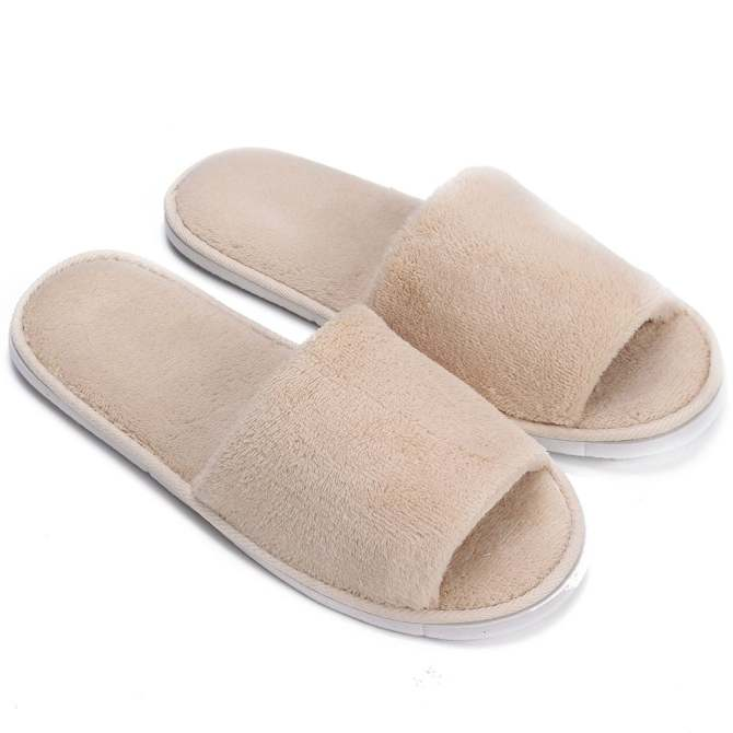 Men Women Coral Velvet Open Toe Hotel Home Spa Slippers Travel Shoes Thick .