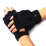 Nam Nữ Ấm Áp Fingerless Gloves Mùa Đông Ấm Áp Ngón Lật Dệt Kim Găng Tay Hở Ngón-quốc tế