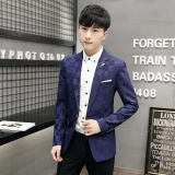 Bán Men S Spring Slim Fit Clothing Leisure One Button Blazer Jacket Blue Intl