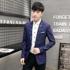 Men S Spring Slim Fit Clothing Leisure One Button Blazer Jacket Blue Intl Nguyên