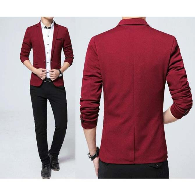Hình ảnh Mens Fashion Brand Blazers Casual Slim Fit Suits Jacket Male Blazers Mens Coat Wedding Dress Plus Size (Red)