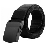 Ôn Tập Men S Military Belt Canvas Adjustable Outdoor Tactical Belt With Plastic Buckle Black Intl
