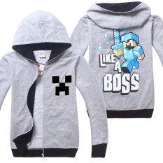 Minecraft Bé Trai 4-14 Tuổi Thời Trang Mỏng Cotton Áo Len (Màu Sắc: Màu Xám Nhạt)-intl Nhật Bản