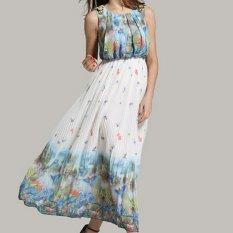 Mặt Trăng Chủ Nhật Nữ Boho Đi Biển Họa Tiết Hoa Voan Vận Động Vien Trượt Băng Đầm Cổ Tron Đầm Maxi Cotton Polyester Quốc Tế Trung Quốc Chiết Khấu 50
