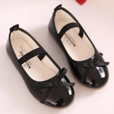 Hình ảnh Moonar Trẻ Em Bé Gái Màu Nơ Trang Trí Công Chúa Giày Form Đầm Suông Giày Slip-on (Đen)-quốc tế