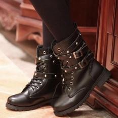 Moonar Thời Trang Mới Bf Phong Cach Nữ Phối Ren Day Mũi Tron Giay Punk Gothic Martin Giay Boot Ngắn Quốc Tế Moonar Chiết Khấu 30