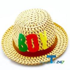 Hình ảnh Mũ cói đính logo da phong cách bé trai GT247 (Vàng)
