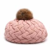 Mũ len lồi quả bông cho bé dễ thương (Hồng)