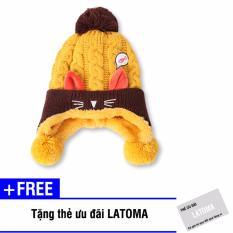 Hình ảnh Mũ len thời trang bé gái Latoma S1413 (Vàng) + Tặng kèm thẻ ưu đãi Latoma