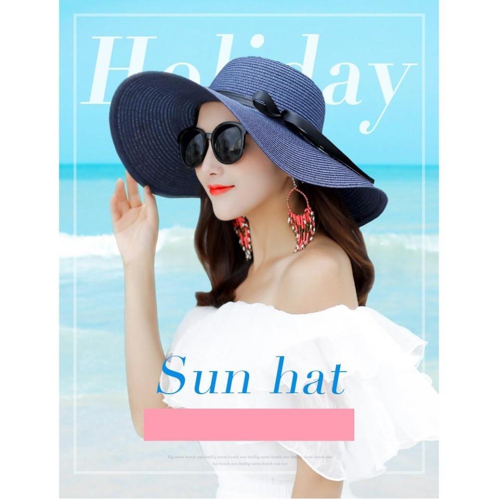 Mũ (Nón) đi biển vành rộng gấp gọn xinh xắn thời trang (Màu xanh navy) SYT314 - 2