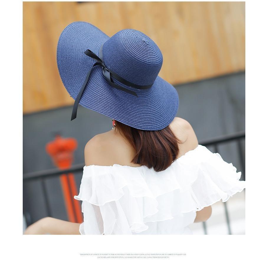 Mũ (Nón) đi biển vành rộng gấp gọn xinh xắn thời trang (Màu xanh navy) SYT314 - 1