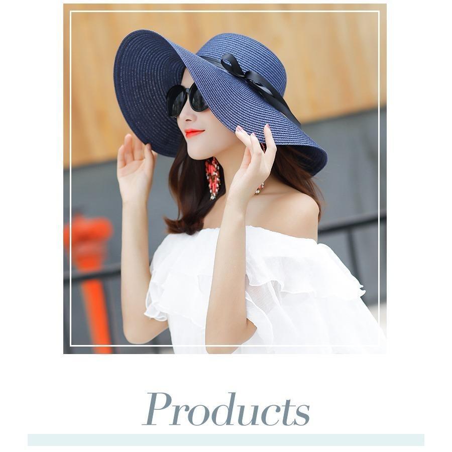 Mũ (Nón) đi biển vành rộng gấp gọn xinh xắn thời trang (Màu xanh navy) SYT314 - 5