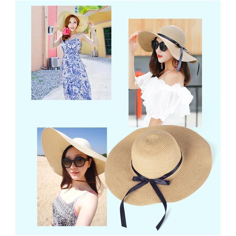 Mũ (Nón) đi biển vành rộng gấp gọn xinh xắn thời trang (Màu xanh navy) SYT314 - 4