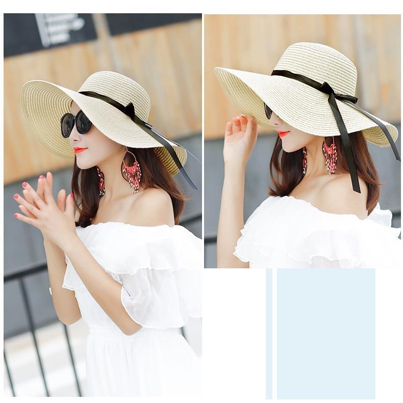 Mũ (Nón) đi biển vành rộng gấp gọn xinh xắn thời trang (Màu xanh navy) SYT314 - 3