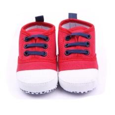Giá bán Mới Cho Bé Sơ Sinh Sơ Sinh Prewalker Đế Mềm Phối Ren Giày Sneaker Cũi Giày-đỏ-quốc tế