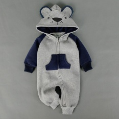 Hình ảnh New Born Baby Clothes Winter Cute Cartoon Baby Conjoined Clothes Snake Bear Jeans (Grey) - intl