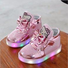 Nữ mới Thời Trang Móc Vòng Led BabyShoes Trẻ Em Sáng đèn Phát Sáng Giày Bé Gái Công Chúa Giày Trẻ Em Có Đèn -màu hồng-quốc tế