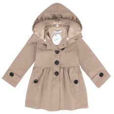 New Promotion Sunweb Arshiner Kids Girl Turn Down Neck Detachable Hat Single Button Pure Color Slim Cotton Trench Wind Coat Outwear(Khaki) - intl