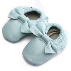 Giá bán MỚI Tua Rua Bé Đế Mềm DA THẬT Giày DA Bé Trai Cô Gái Trẻ Sơ Sinh Cho Bé Mộc Mạch Trà XANH NHẠT 6-12 m- quốc tế