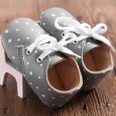 Giá bán Mới Tập Đi Cho Bé Sơ Sinh Đế Mềm Cũi Giày Trẻ Sơ Sinh Buộc dây Giày 0-18 Tháng-MÀU XÁM-intl