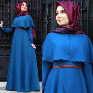 Hình ảnh New Trendy Personality Cape-style abaya turkish women clothing Elegant muslim dress Islamic Cocktail ladies Long Sleeve Vintage Maxi Dresses (Blue) - intl