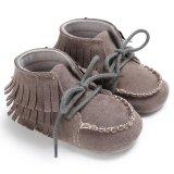 Sơ sinh-18 Tháng Mùa Hè Bé gái Bé Trai Tua Rua Trơn Mềm Mại Đế Giày Suông Dễ Thương Giày S1932 màu sắc Màu Xám (Int: 3-6 tháng)-quốc tế