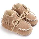 Sơ sinh-18 Tháng Mùa Hè Bé gái Bé Trai Tua Rua Trơn Mềm Mại Đế Giày Suông Dễ Thương Giày S1934 màu Kaki (Int: 3-6 tháng)-quốc tế
