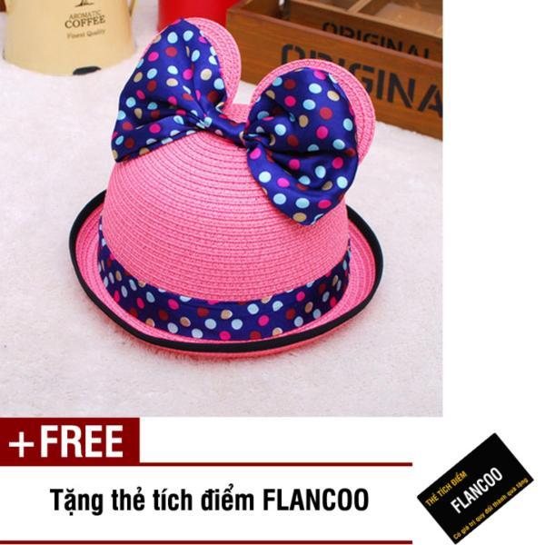 Nón trẻ em chất liệu cói Flancoo 8744 (Hồng) + Tặng kèm thẻ tích điểm Flancoo
