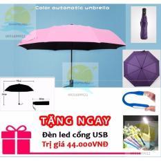 Ô dù đi mưa tự động 2 chiều cao cấp màu hồng phấn