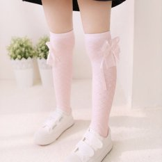 Giá bán PAlight Sweet Little Girls Lace Bowknot Knee High Long Socks (Pink) - intl