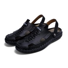 Bán Pattrily Men S Summer Casual Shoes Leather Slippers Comfortable Wear Fashion Leisure Black Intl Pattrily Có Thương Hiệu