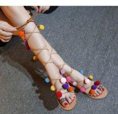 Plus Size 35-41 Dân Tộc Bohemia Mùa Hè Người Phụ Nữ Pompon Giày Sandal Đấu Sĩ La Mã Thiết Kế Quai Giày Ống Cao trên Gối Thêu Tua Rua Giày (nâu) -quốc tế