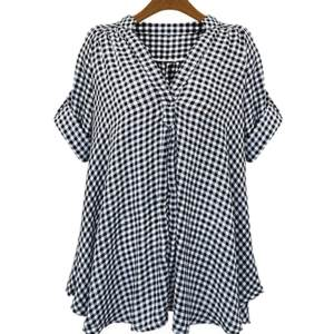 Hình ảnh Plus Size XL- 5XL Women Loose Cotton Shirt Short Sleeve Top V-Neck Casual Plaid Blouse Women Clothing - intl