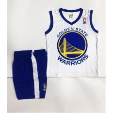 Hình ảnh Quần áo bóng rổ trẻ em Golden State Warriors trắng xanh