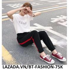 Hình ảnh Quần Dài Thun Thể Thao Nữ Jogger Thời Trang - BT Fashion QTT001 (Sọc Đỏ - Đen)