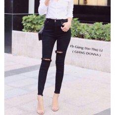 Quần jean nữ rách gối thời trang LyLyFashion (đen)