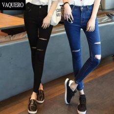 Quần jean nữ rách thời trang LyLyFashion (đen)