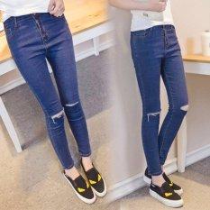 Quần jeans nữ xanh rách gối 2da cao cấp