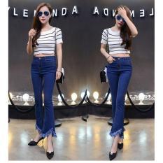 Ôn Tập Shop Thanh Lý Quần Jeans Denim Ống Loe Nhẹ Xẻ Gấu Ca Tinh Co Tua Rua Xanh Đậm City Fashion 0512 Hà Nội