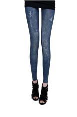 Quần legging giả jeans rách nhẹ Huy Kiệt LG01 (Xanh)